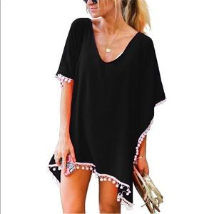 Other - ✨JUST IN!✨SALE!✨NEW! BLACK/WHITE BOHO COVERUP TOP
